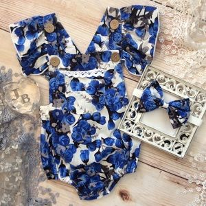 One Pieces - Boutique Baby Girl Blue Floral Romper 2pc